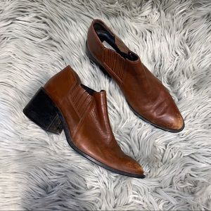 Brown leather distressed pointed booties 7.5